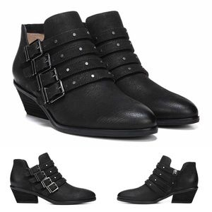 Leather Studded Buckle Strap Ankle Boots NEW